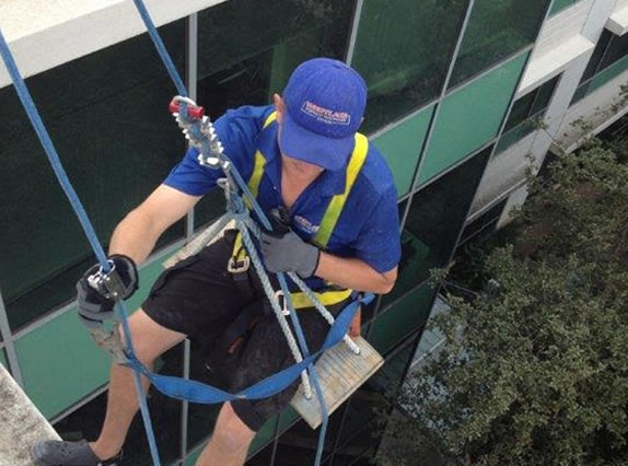 our team, high-story window cleaning